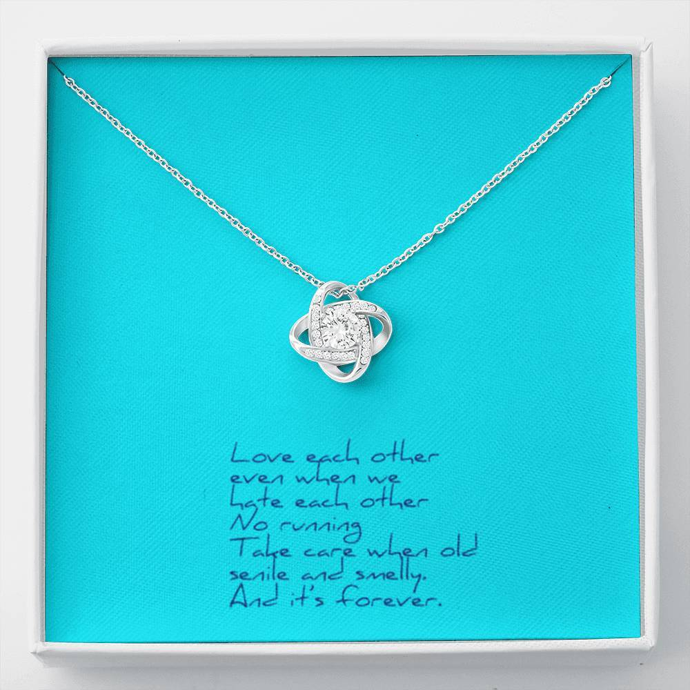 Love Each Other Wife Girlfriend Love Knot Necklace with Luxury Box Mahogany-style & Builtin-LED