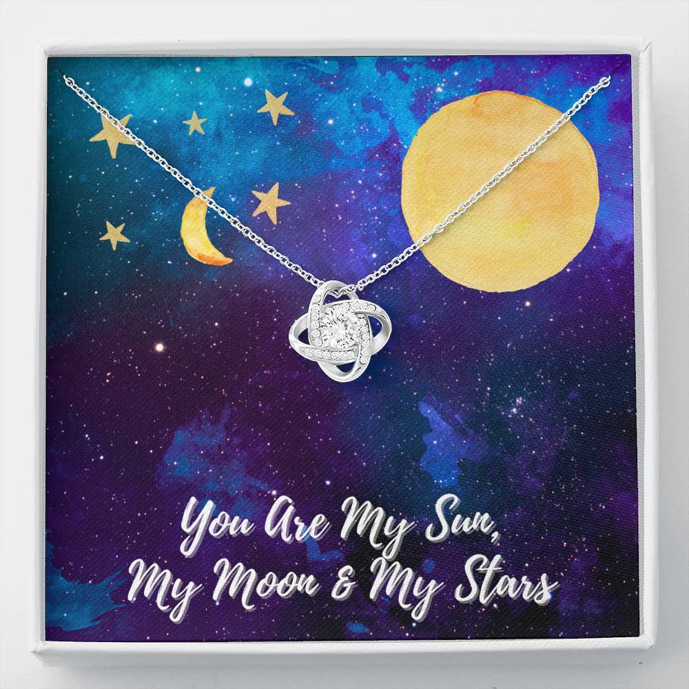You Are My SUN, MOON, STARS Love Wife Girlfriend Daughter Love Knot Necklace with Luxury Box Mahogany-style & Builtin-LED