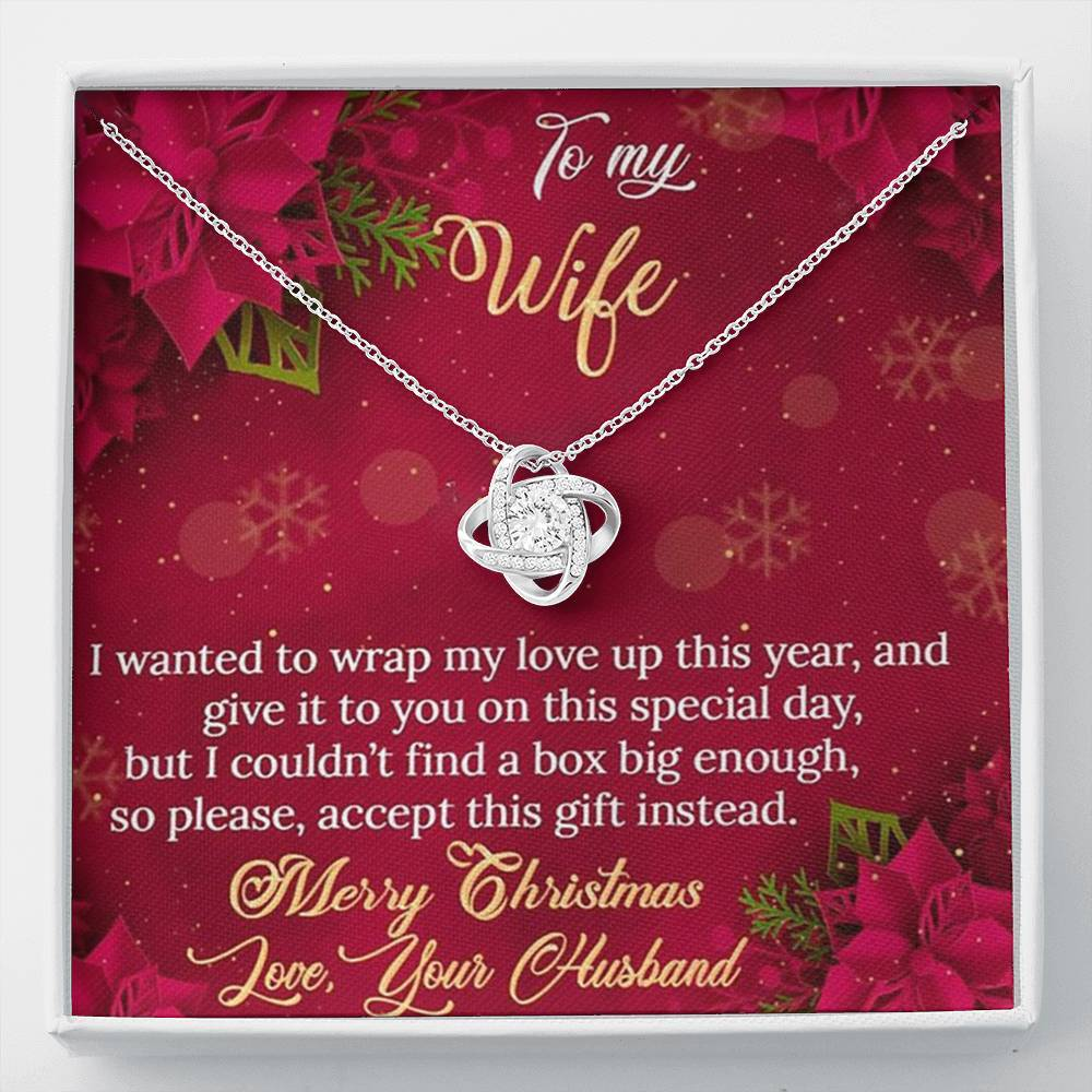To My Wife Merry Christmas Love Box Special year From Husband xmas Grinch Love Knot Necklace with Luxury Box Mahogany-style & Builtin-LED