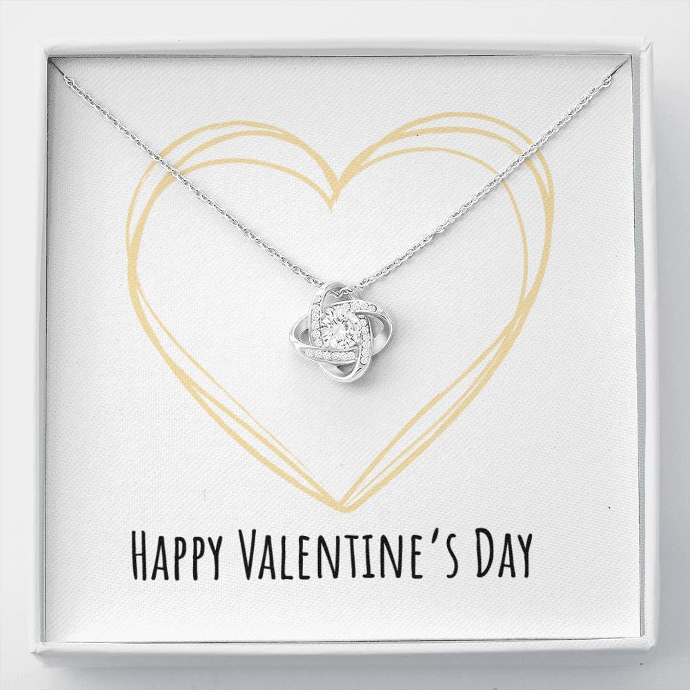 To Wife or Girlfriend Happy Valentine's Day Golden Heart Love Knot Necklace with Luxury Box Mahogany-style & Builtin-LED
