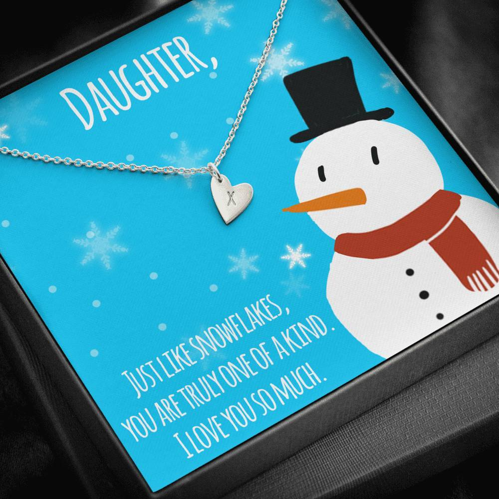 To My Daughter MERRY CHRISTMAS LIKE SNOWFLAKES Sweetest Heatrs Letter Engraving Necklace