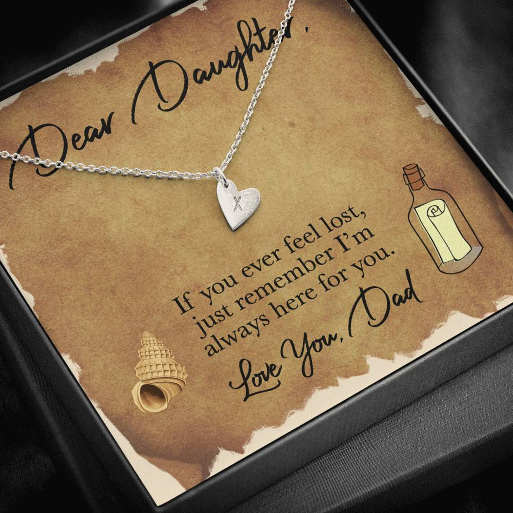From Dad To My Daughter FEEL LOST, LOVE DAD Sweetest Heatrs Letter Engraving Necklace