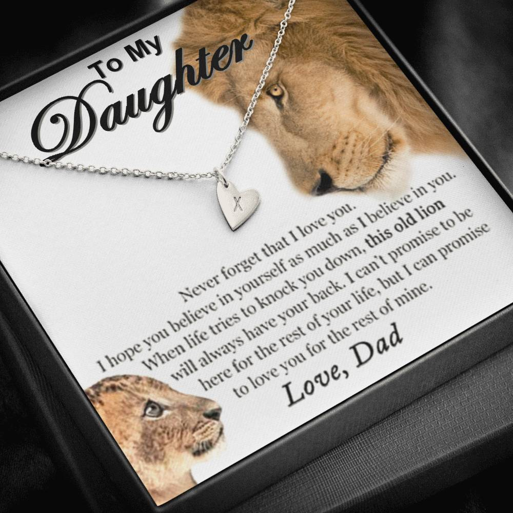 From Dad To My Daughter This Old Lion will Always Have Your Back I can promise to Love You For the Rest of My life  Sweetest Heatrs Letter Engraving Necklace