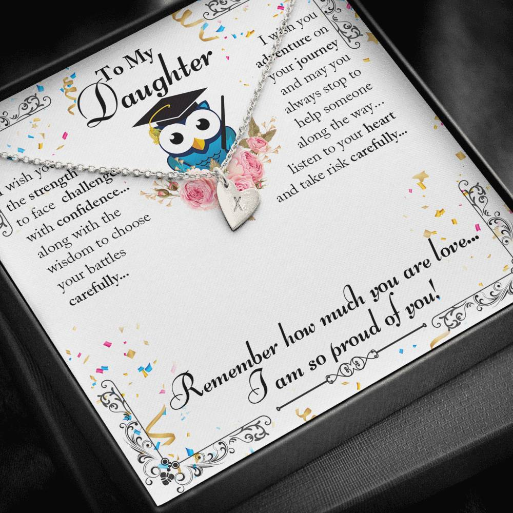 To My Daughter Education Message  Sweetest Heatrs Letter Engraving Necklace
