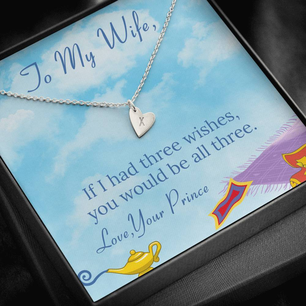 To My Wife 3 WISHES Sweetest Heatrs Letter Engraving Necklace