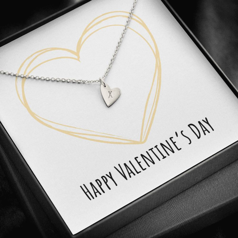 To Wife or Girlfriend Happy Valentine's Day Golden Heart Sweetest Heatrs Letter Engraving Necklace