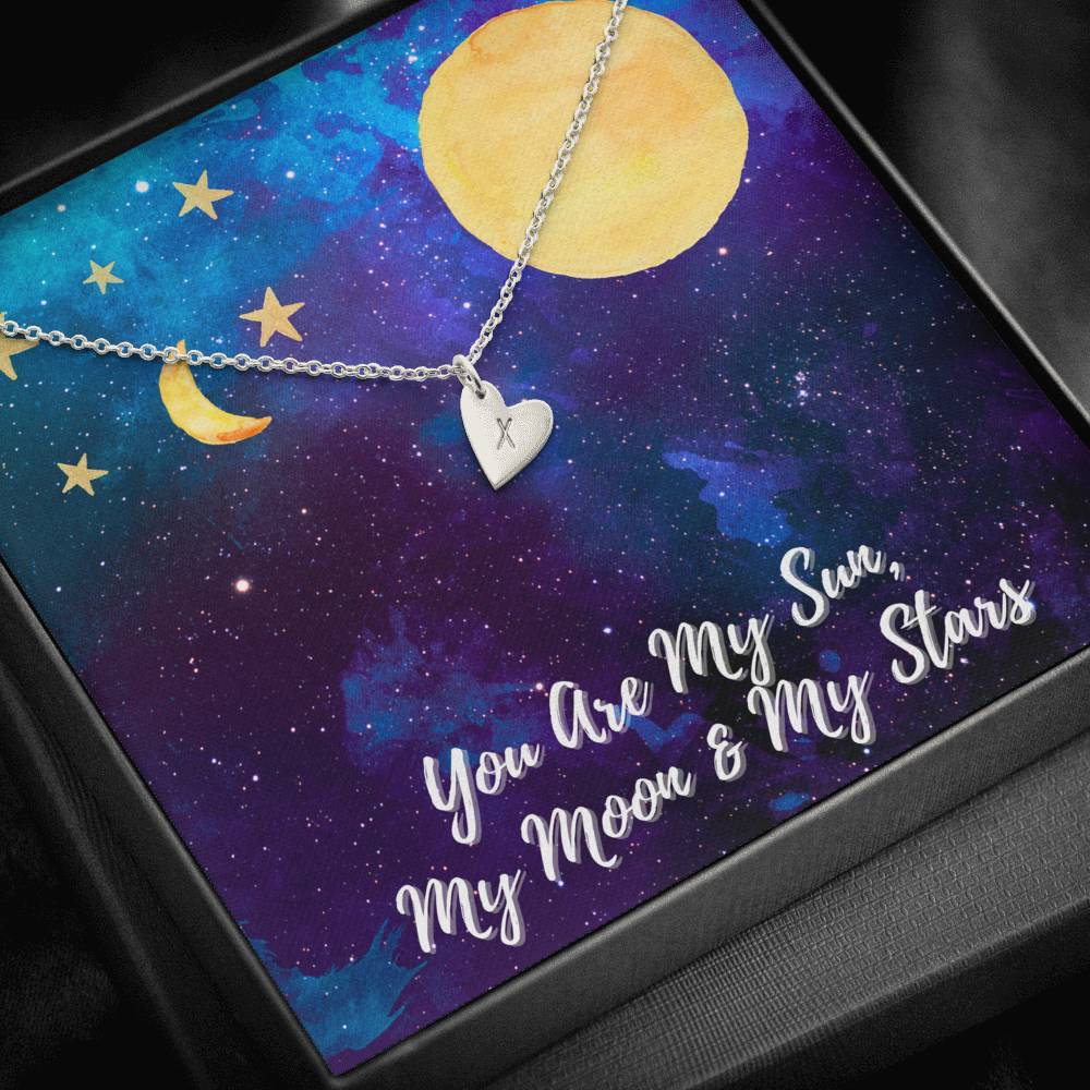 You Are My SUN, MOON, STARS Love Wife Girlfriend Daughter Sweetest Heatrs Letter Engraving Necklace