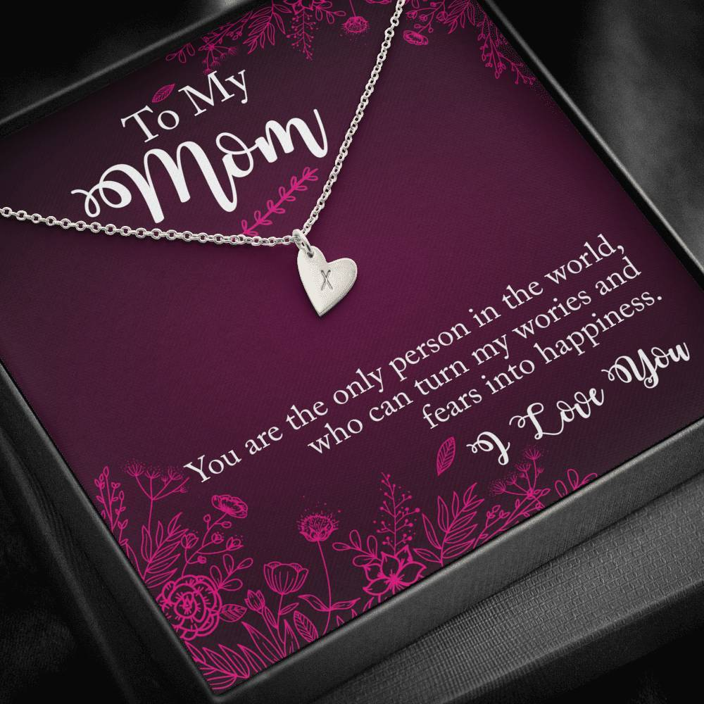 To My Mom you are the person Sweetest Heatrs Letter Engraving Necklace