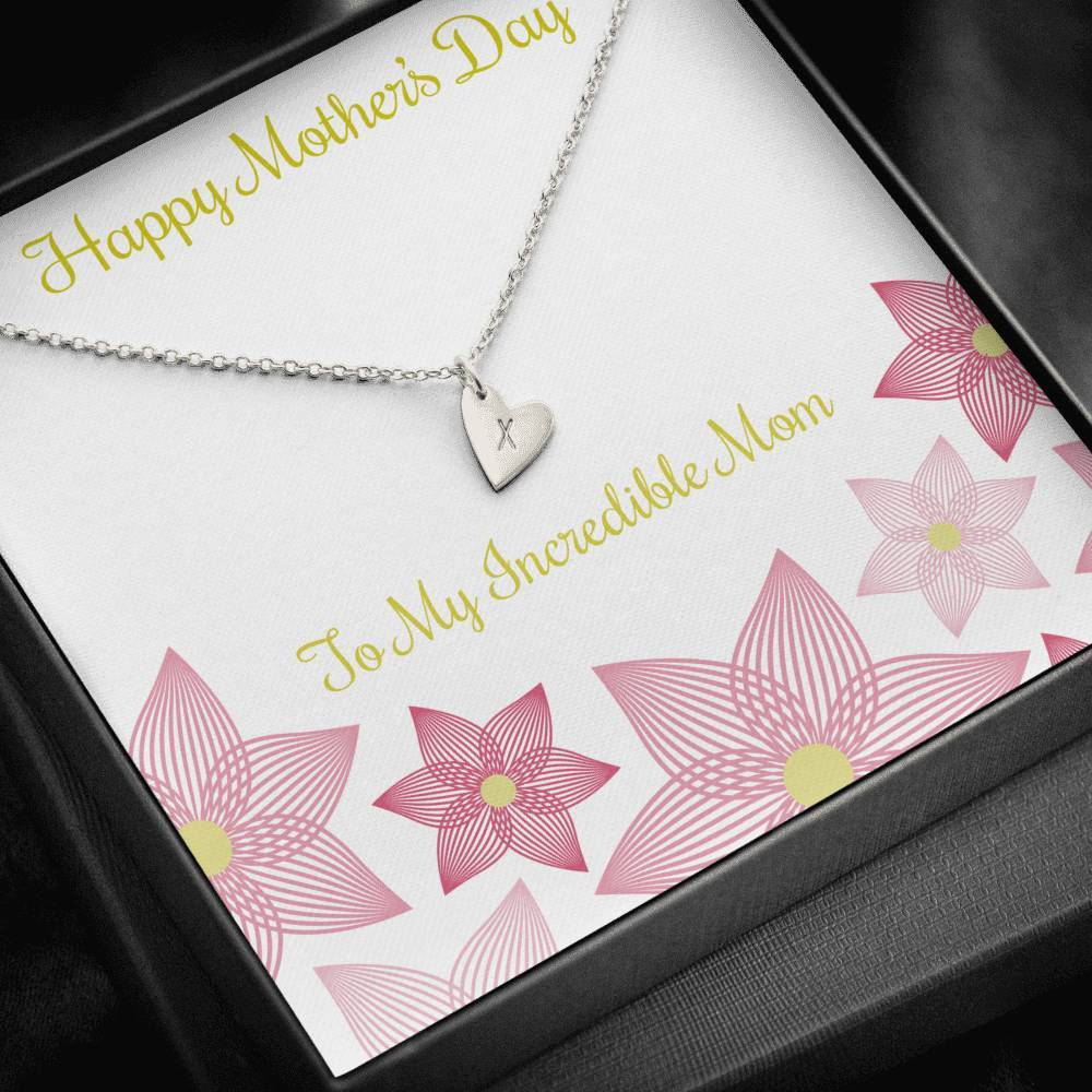 Mother's Day  To My incredible mom  Sweetest Heatrs Letter Engraving Necklace