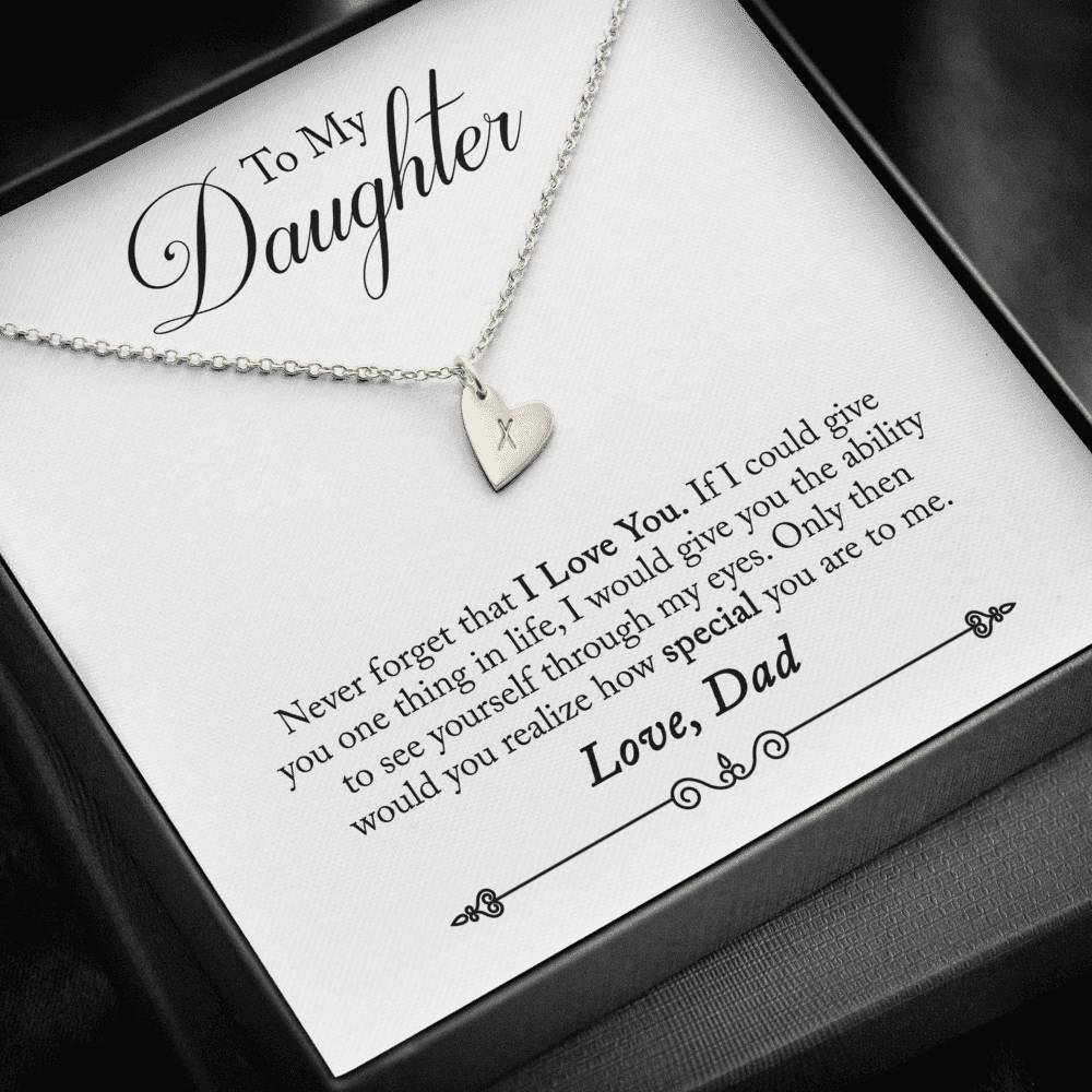 To Daughter from Dad Never Forget Sweetest Heatrs Letter Engraving Necklace