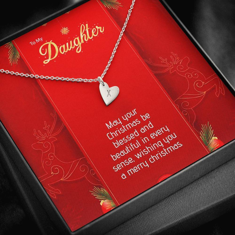 To My Daughter Wishing You a Merry Christmas xmas grinch from Mom or Dad Sweetest Heatrs Letter Engraving Necklace