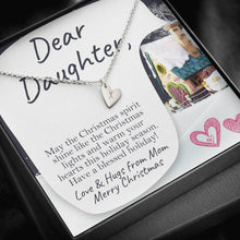 Load image into Gallery viewer, Dear Daughter MERRY CHRISTMAS LOVE AND HUGS FROM MOM Sweetest Heatrs Letter Engraving Necklace