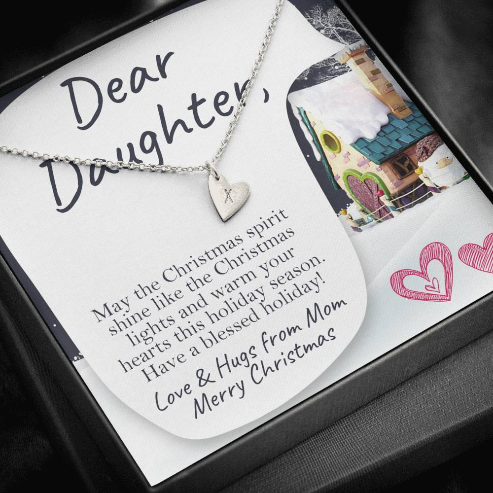 Dear Daughter MERRY CHRISTMAS LOVE AND HUGS FROM MOM Sweetest Heatrs Letter Engraving Necklace