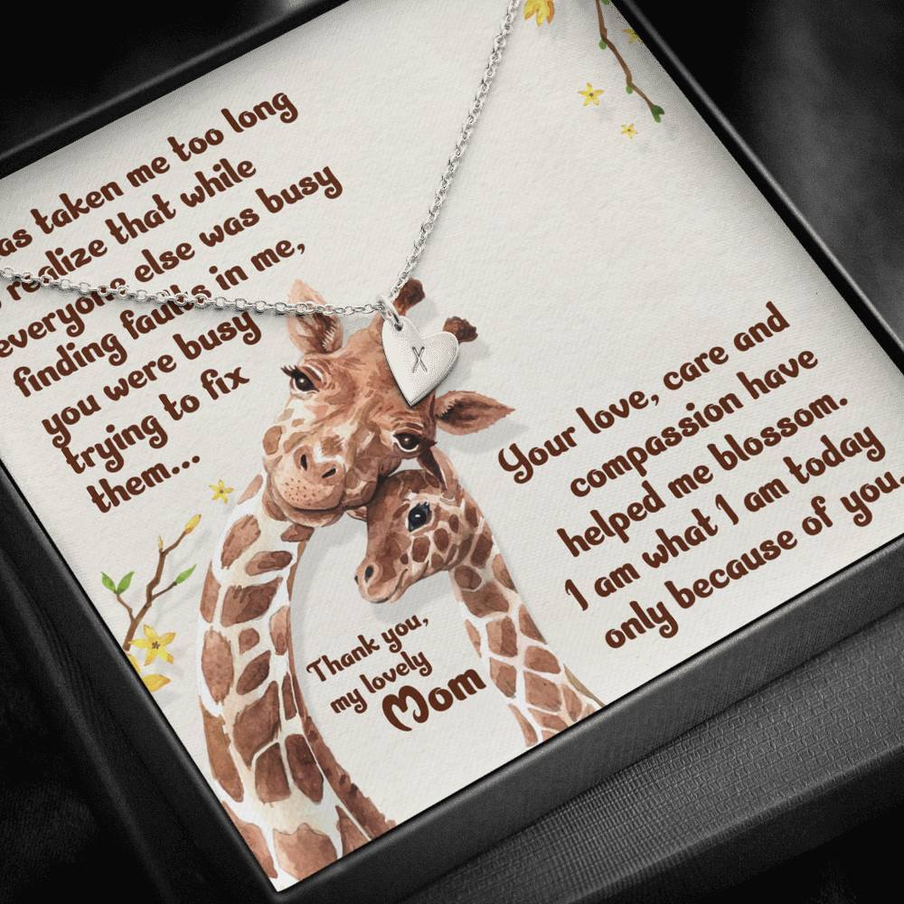 From Daughter To Mom Giraffe It has taken me   Sweetest Heatrs Letter Engraving Necklace