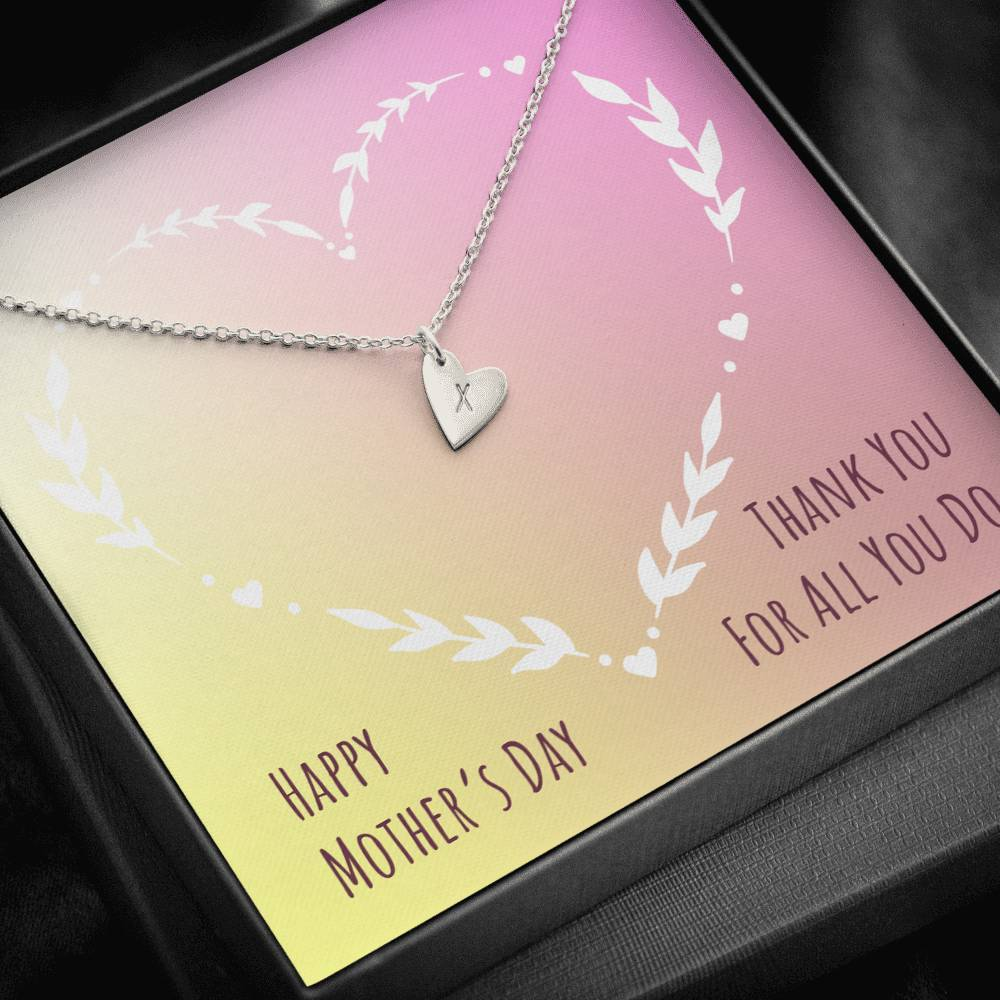 Happy Mother's Dat Thank You Mom For all you do  Sweetest Heatrs Letter Engraving Necklace