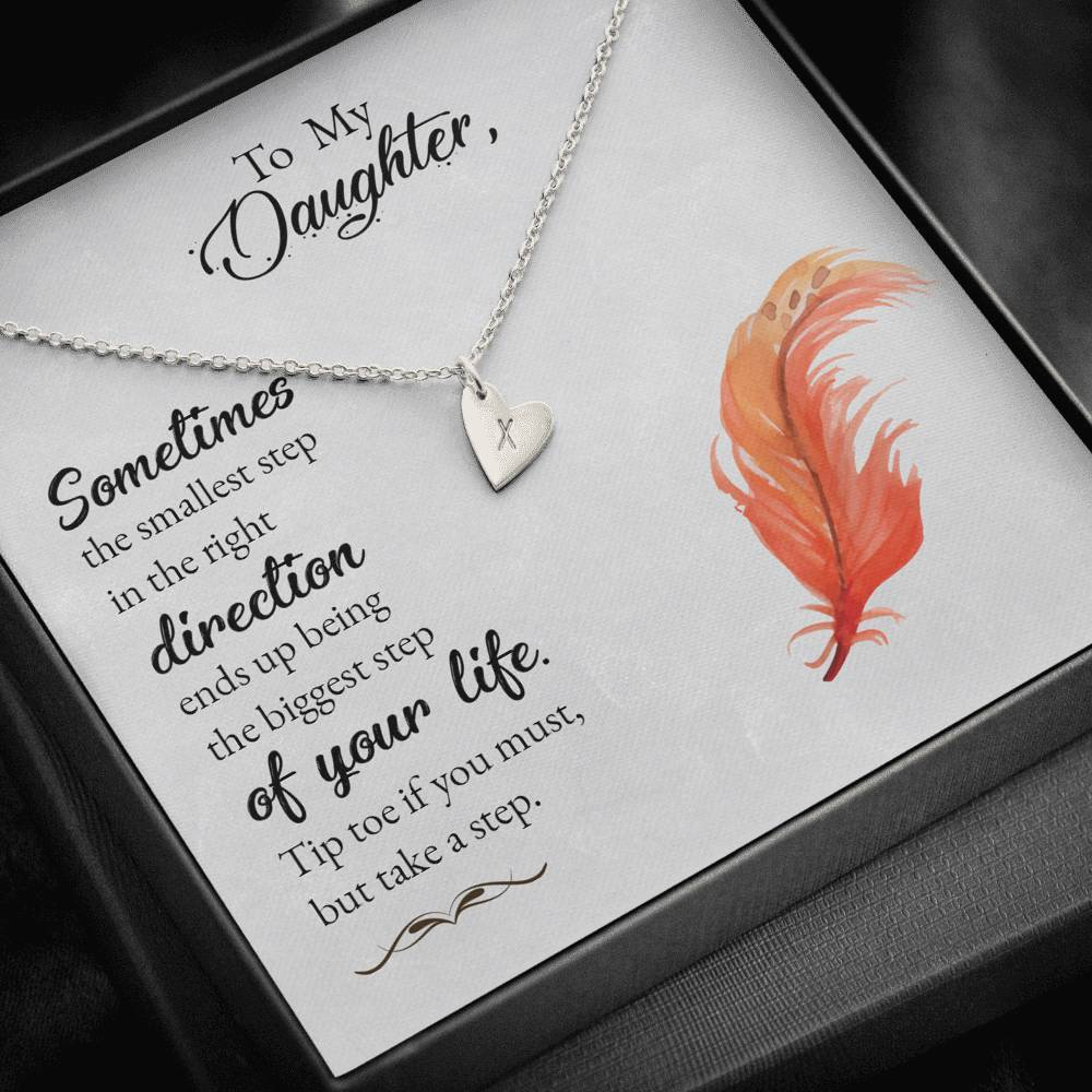 To my daughter-Sometimes the smallest step - new Sweetest Heatrs Letter Engraving Necklace