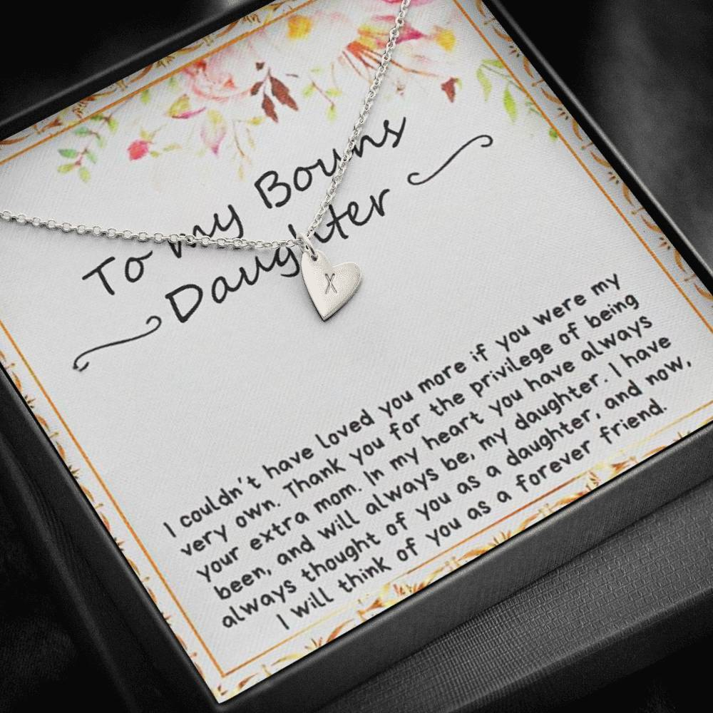 To my bouns Daughter Sweetest Heatrs Letter Engraving Necklace