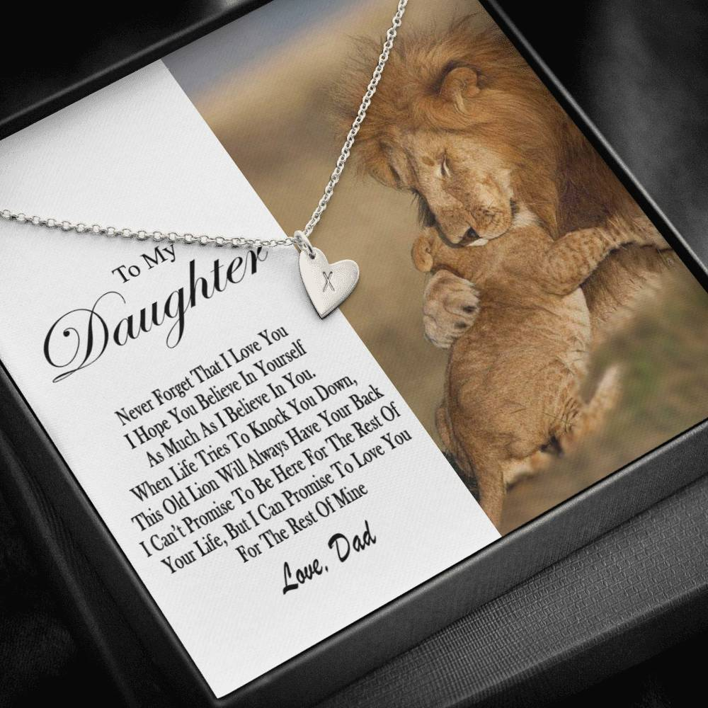 Lion Daughter Dad Design40  Sweetest Heatrs Letter Engraving Necklace
