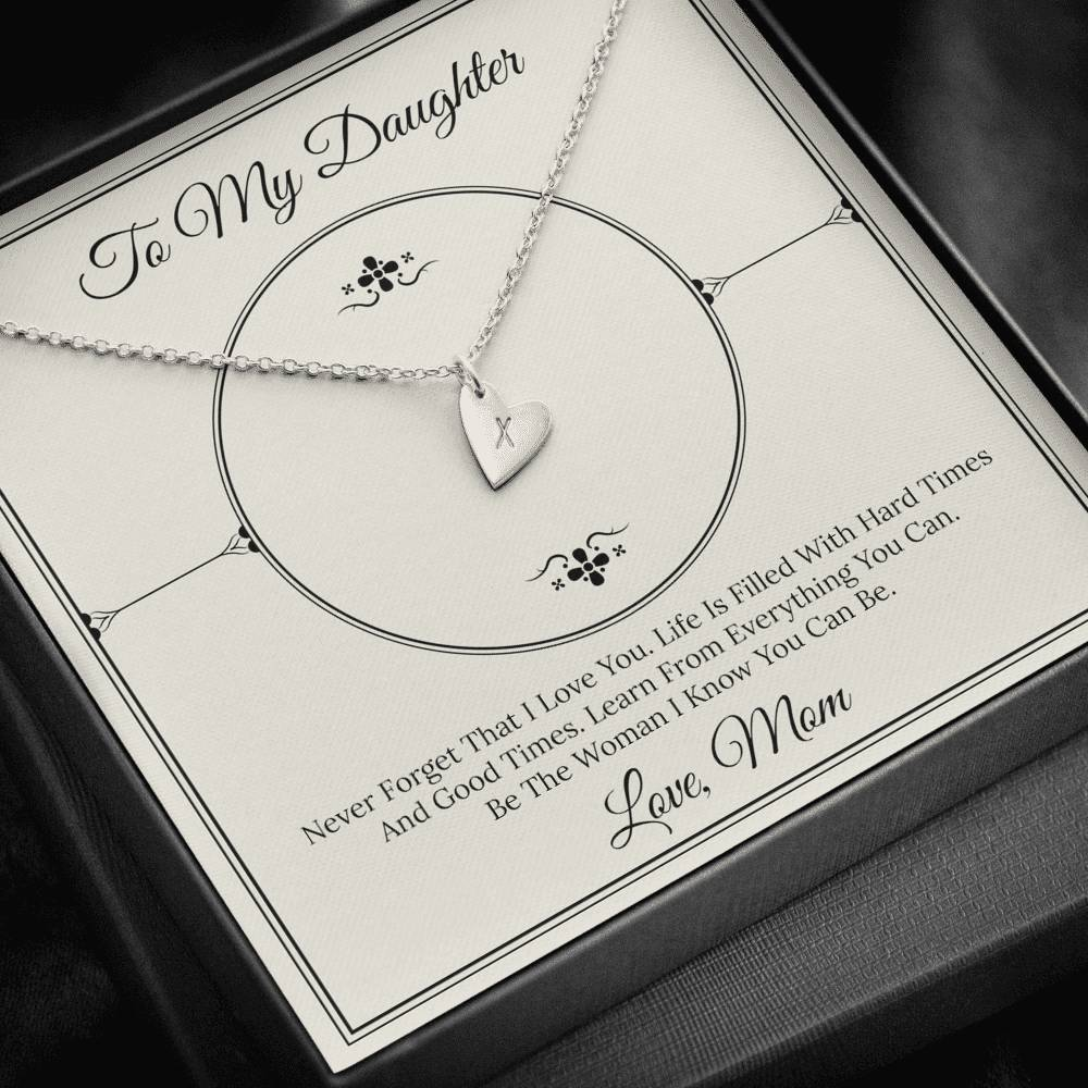 From Mom TO MY DAUGHTER Sweetest Heatrs Letter Engraving Necklace