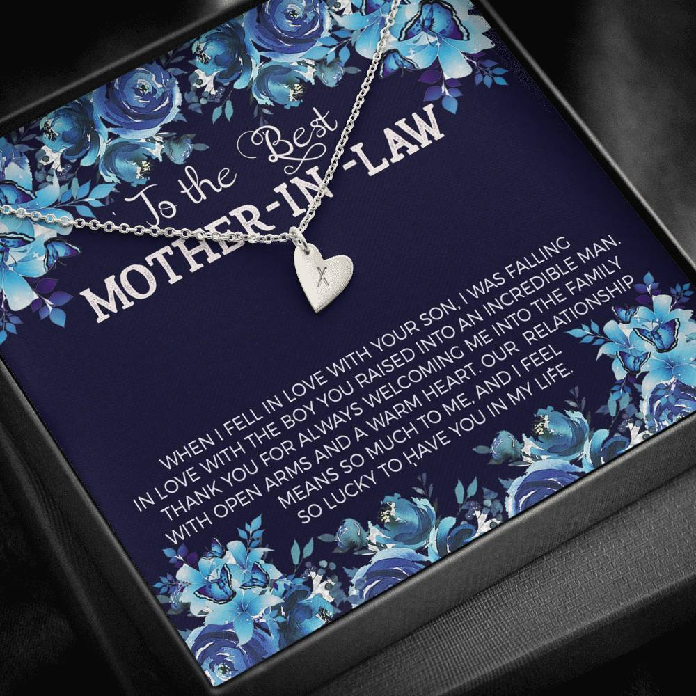 To the Best Mother In Law  Sweetest Heatrs Letter Engraving Necklace