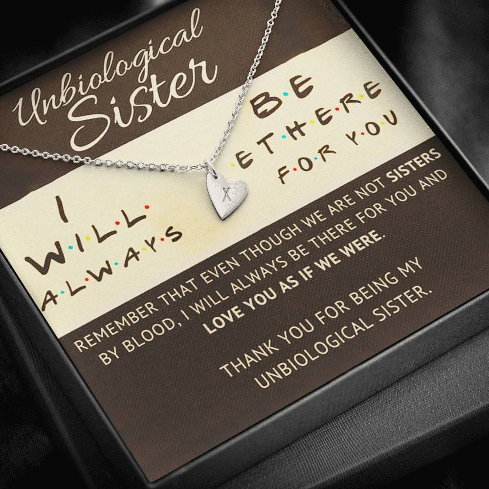 Unbiological sister Friends Sweetest Heatrs Letter Engraving Necklace