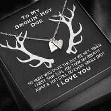 Load image into Gallery viewer, To my smokin' hot doe Smoking I Love You Sweetest Heatrs Letter Engraving Necklace
