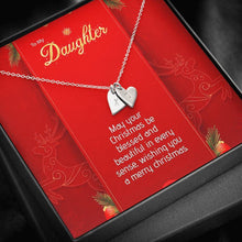Load image into Gallery viewer, To My Daughter Wishing You a Merry Christmas xmas grinch from Mom or Dad Sweetest Heatrs Letter Engraving Necklace