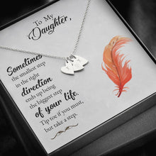 Load image into Gallery viewer, To my daughter-Sometimes the smallest step - new Sweetest Heatrs Letter Engraving Necklace