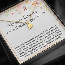 Load image into Gallery viewer, To my bouns Daughter Sweetest Heatrs Letter Engraving Necklace