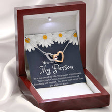 Load image into Gallery viewer, Grey Anatomy You are My  Person Design interlocking Hearts Necklace with Luxury Box Mahogany-style & Builtin-LED