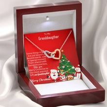 Load image into Gallery viewer, To My Granddaughter Merry Christmas Special Moment  interlocking Hearts Necklace with Luxury Box Mahogany-style & Builtin-LED