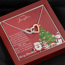 Load image into Gallery viewer, To My Daughter Merry Christmas to our precious Gift from Mom and Dad xmas grinch interlocking Hearts Necklace with Luxury Box Mahogany-style & Builtin-LED