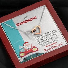 Load image into Gallery viewer, To My Granddaughter Merry Christmas interlocking Hearts Necklace with Luxury Box Mahogany-style & Builtin-LED