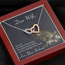 Load image into Gallery viewer, To My Wife BEAT OF MY HEART interlocking Hearts Necklace with Luxury Box Mahogany-style & Builtin-LED