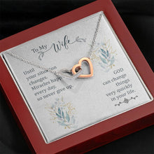 Load image into Gallery viewer, To my Wife Until your situation change  interlocking Hearts Necklace with Luxury Box Mahogany-style & Builtin-LED