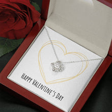 Load image into Gallery viewer, To Wife or Girlfriend Happy Valentine's Day Golden Heart Love Knot Necklace with Luxury Box Mahogany-style & Builtin-LED