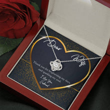 Load image into Gallery viewer, Dear Wife GOLD HEART Love Knot Necklace with Luxury Box Mahogany-style & Builtin-LED