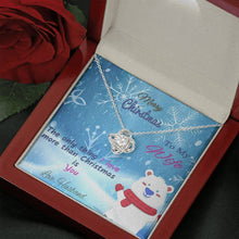 Load image into Gallery viewer, To My Wife Merry Christmas Love you more than xmas Grinch Love Knot Necklace with Luxury Box Mahogany-style & Builtin-LED