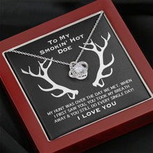 Load image into Gallery viewer, To my smokin' hot doe Smoking I Love You Love Knot Necklace with Luxury Box Mahogany-style & Builtin-LED