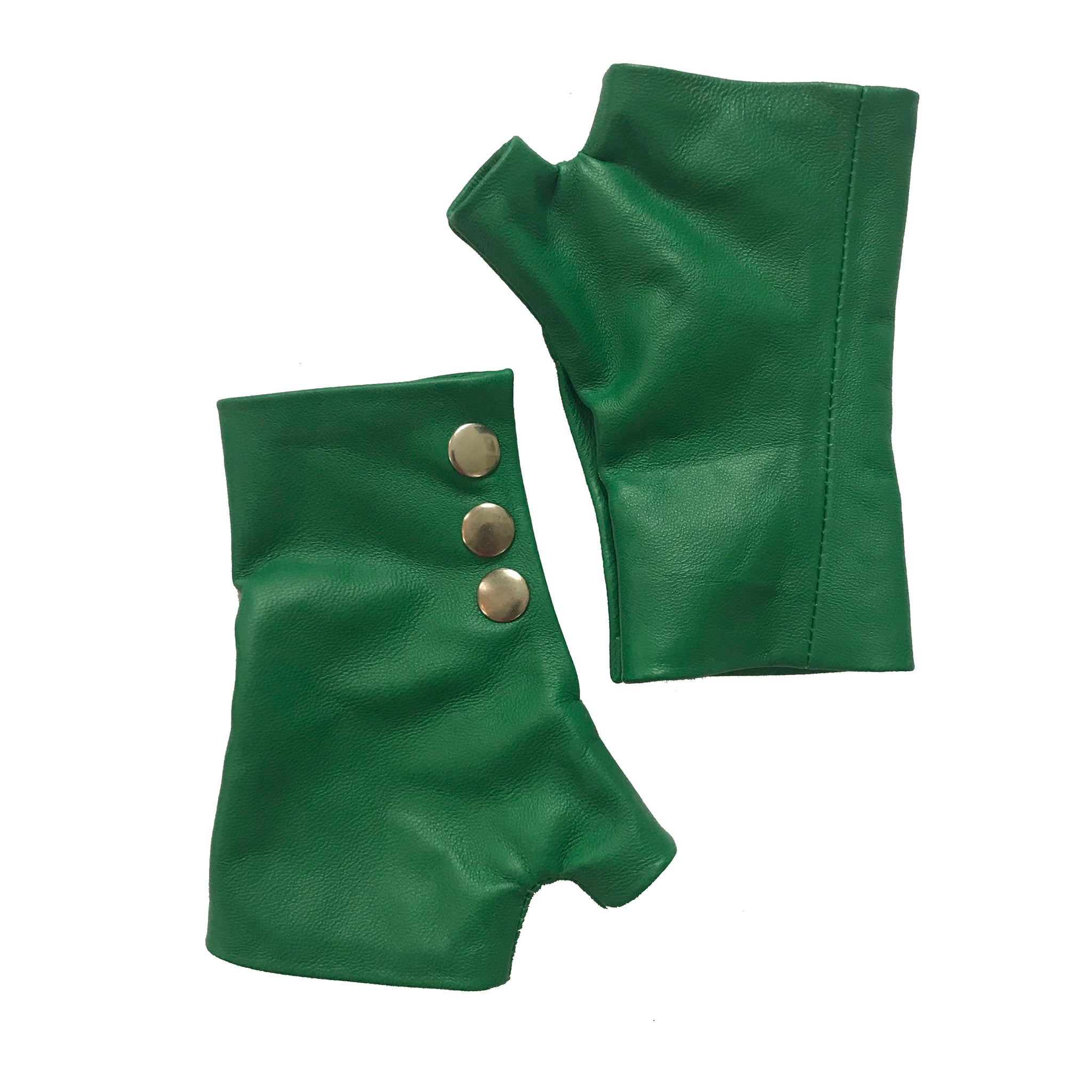 Vibrant Green Leather Gloves