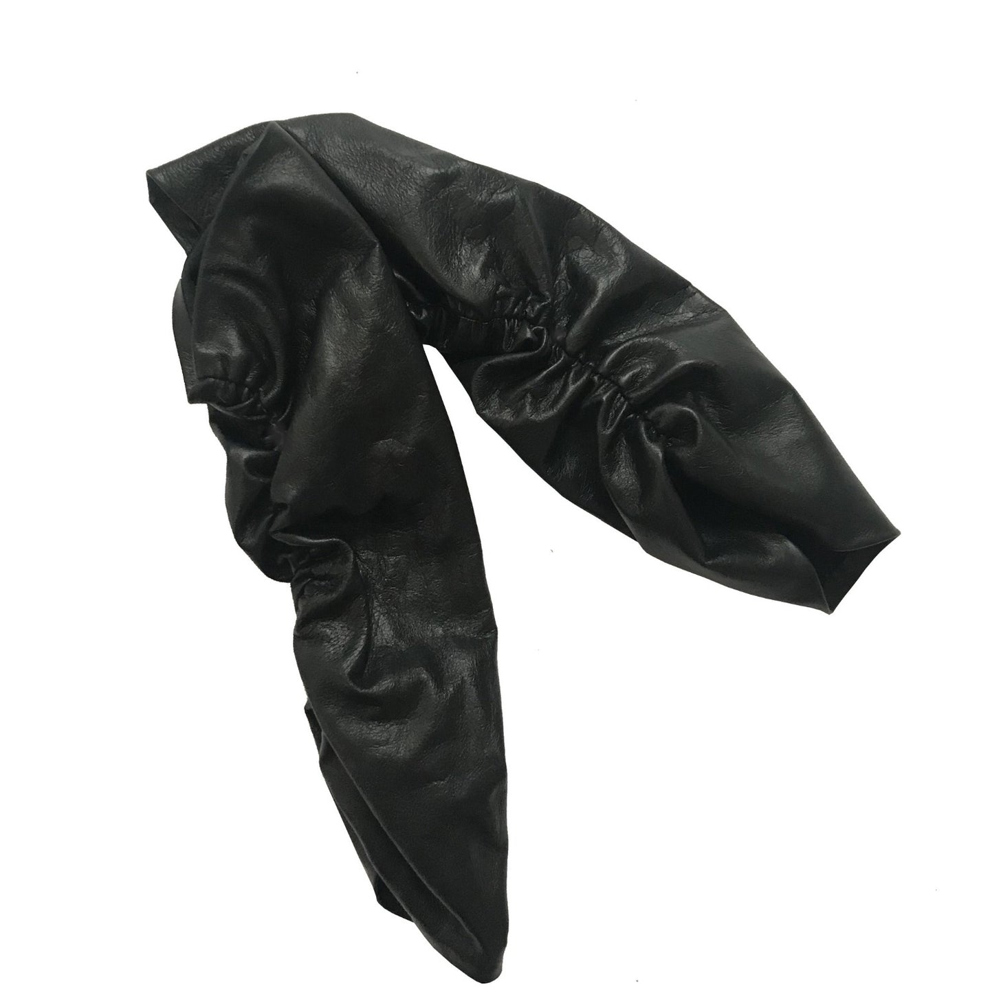 Pair of black leather arm sleeves with elastic