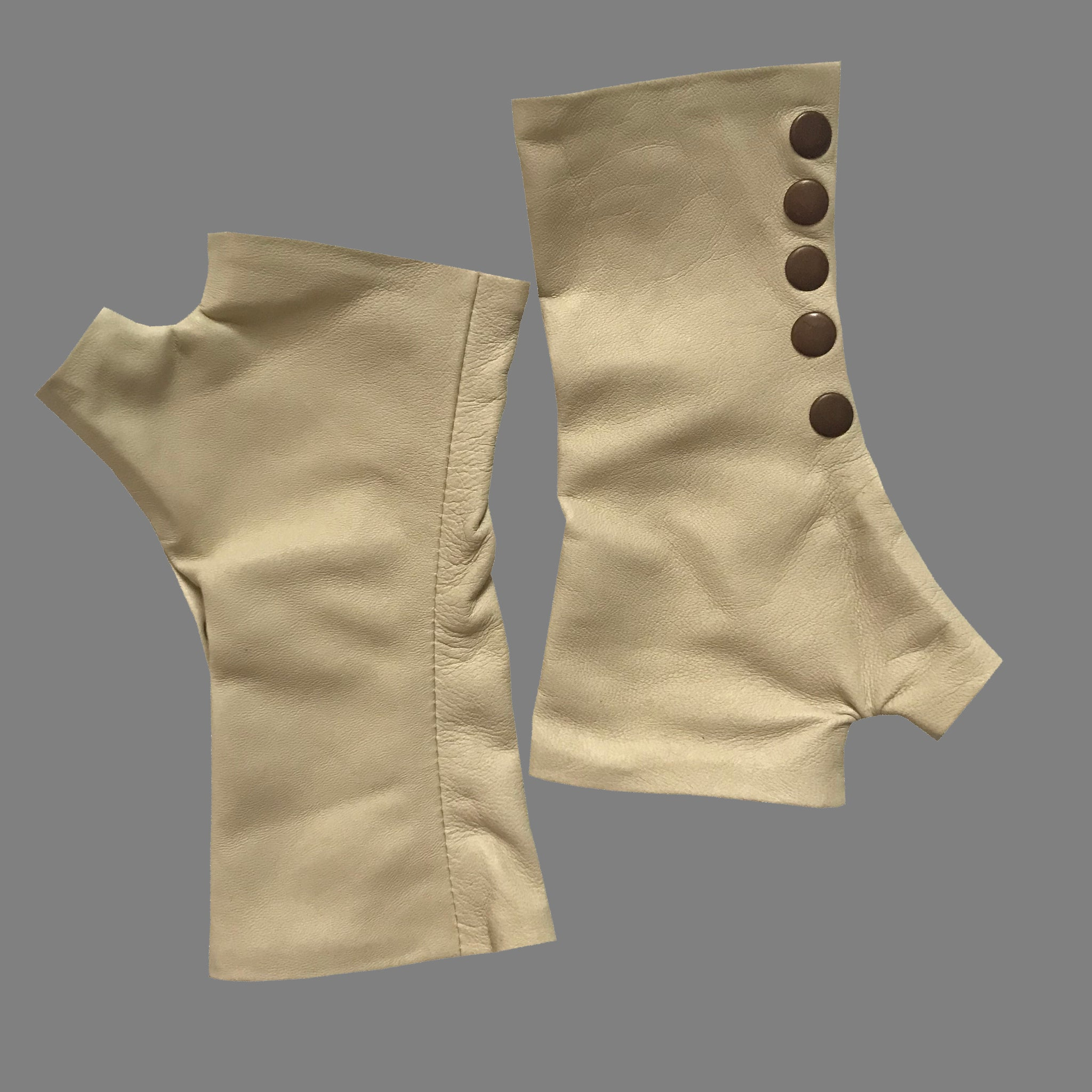 Monika Style Beige Fingerless leather Gloves