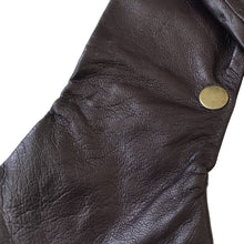 Load image into Gallery viewer, Close up from the one bronze color snap on a leather glove