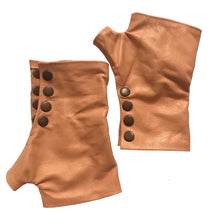 Load image into Gallery viewer, Apricot color Gloves with four rust color metal snaps