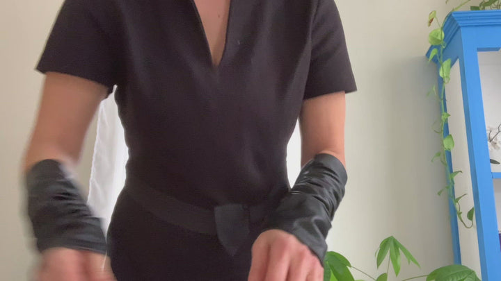 Unisex Black leather sleeves  steampunk arm warmers