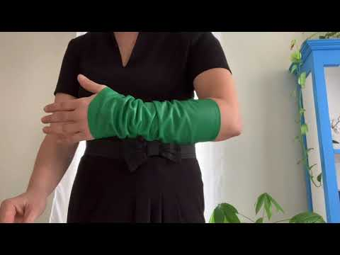 Fashion arm sleeves handmade lambskin leather sleeves grass green spring color stylish and cozy