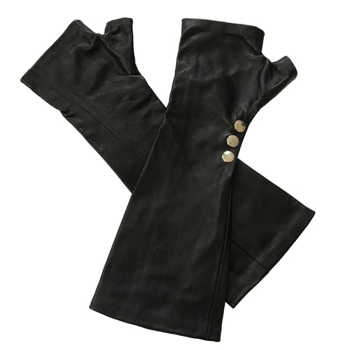 Black long lambskin leather gloves