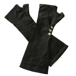 Open image in slideshow, Black long lambskin leather gloves