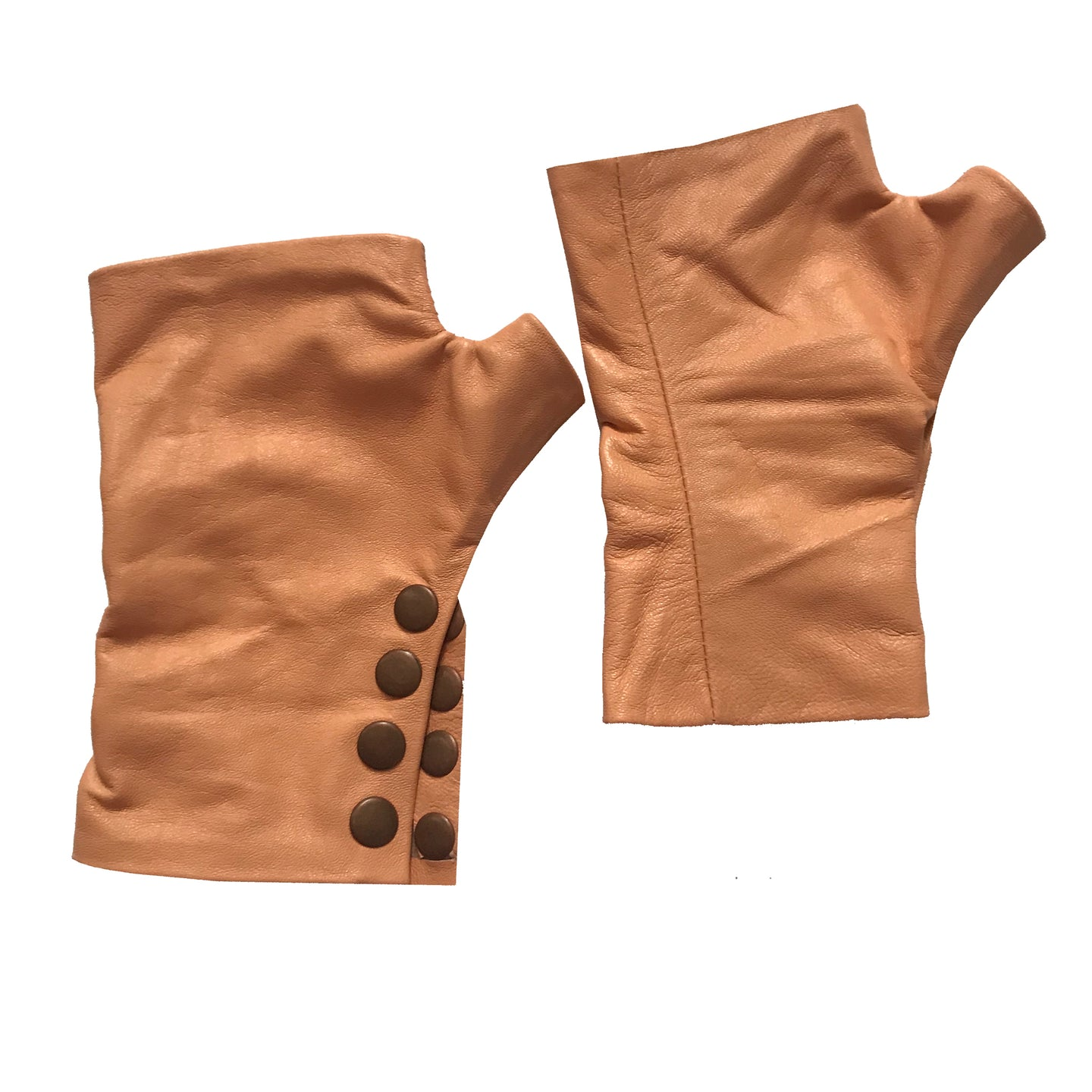 Fingerless leather Gloves with four rust color snap. Unisex