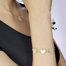 Load image into Gallery viewer, 18K Gold Plated Sterling Silver CZ Bracelet with Heart Shape Mother of Pearl